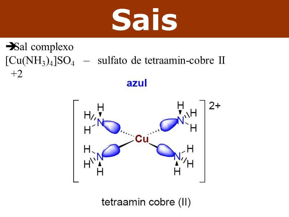 Sais Sal complexo [Cu(NH3)4]SO4 – sulfato de tetraamin-cobre II +2
